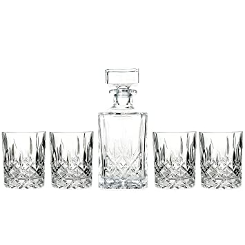 crystal whiskey decanter set australia with tray canada marquis four double old fashioned glasses