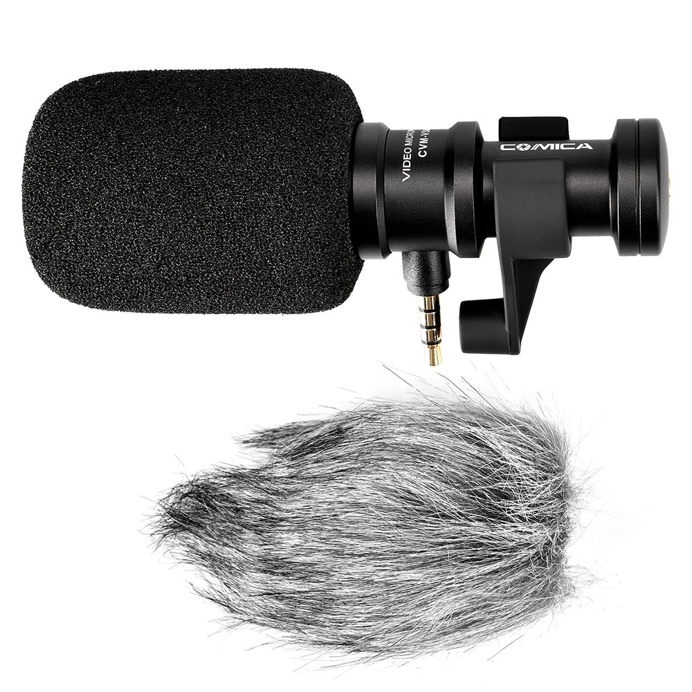 Comica CVM-VS08 Cardioid Condenser Directional Shotgun Microphone for iOS and Android Smartphone, Full Metal Aluminum Housing with Wind Muff. CVM-00VS08