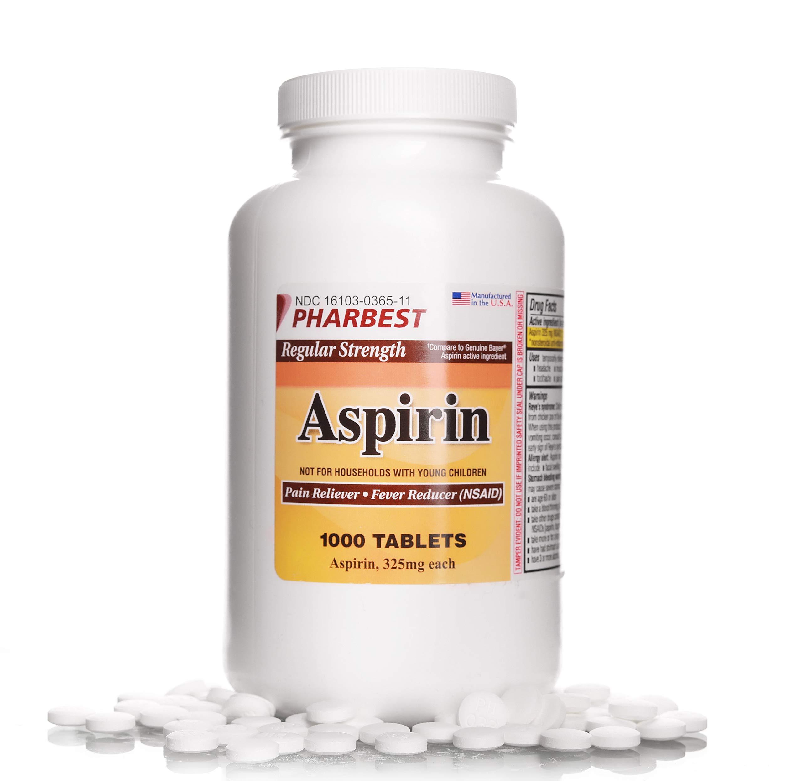 Aspirin 325 mg | Regular Strength | 1000 Count Uncoated Tablets
