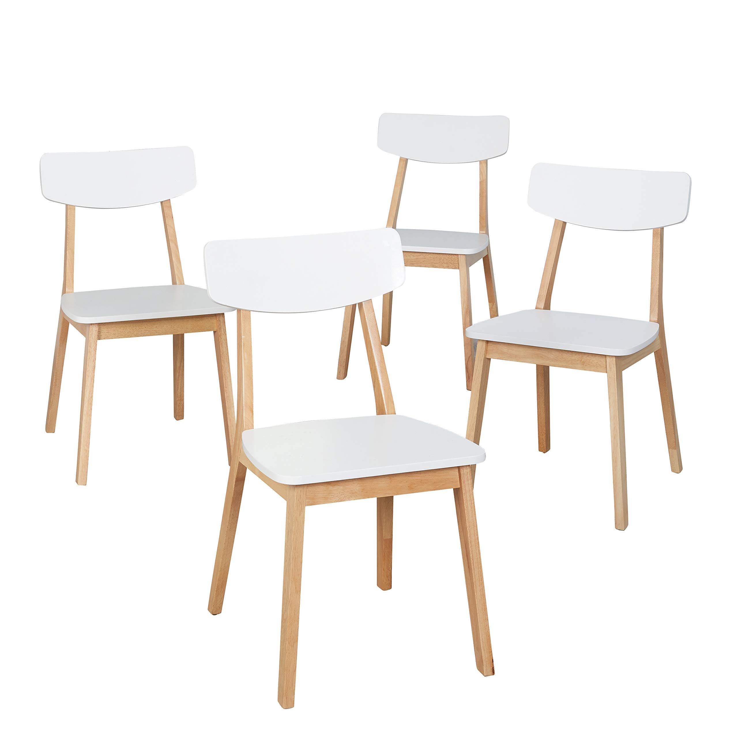 The Mezzanine Shoppe 62218WNA4 Mid Century Modern Two-Tone Wooden Dining Chair, Set of 4, White by The Mezzanine Shoppe