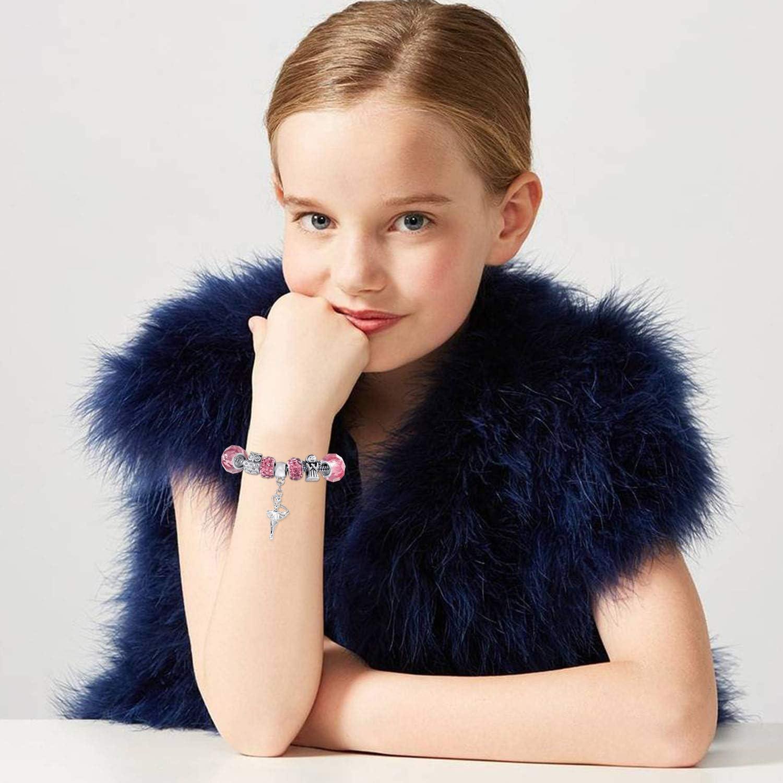 Blue /& Sliver 56 Pcs DIY Charm Bracelet Making Kit Handmade Carved Silver Plated Snake Chain Jewelry Making Supplies Bead Bracelets Gift for Teens Girls Kids Women