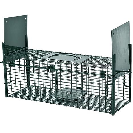 Trampa para capturar animales vivos 64 x 21 x 23 cm - 2 entradas, marco
