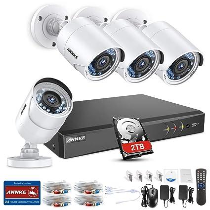 SANNCE Kit de seguridad 4 cámaras metal de vigilancia con 2TB disco duro(8 Canales
