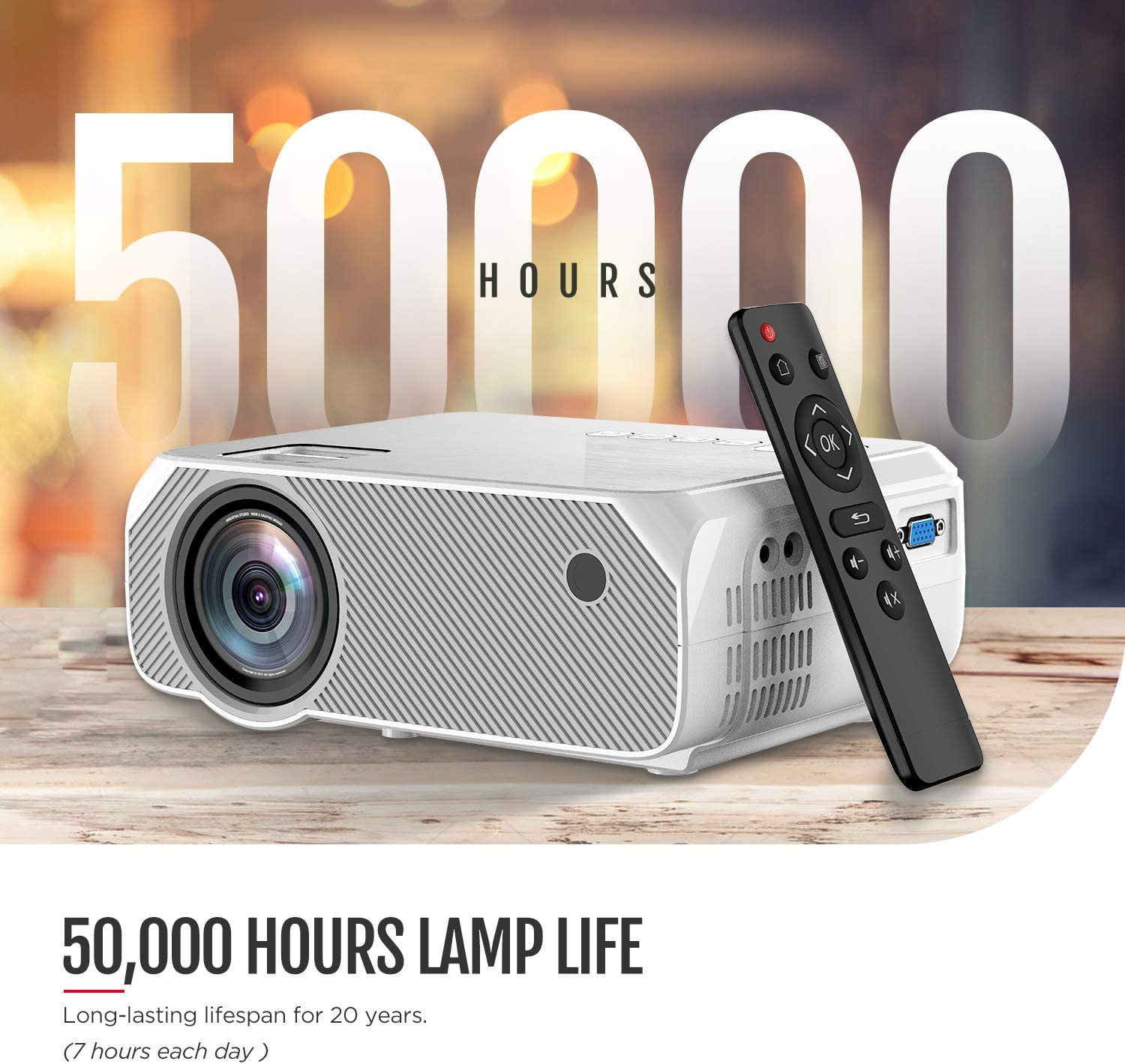Bomaker Projector AV and USB VGA TF HDMI GC555 Full HD 1920 * 1080P and 250 Display Supported Compatible with TV Stick PS4