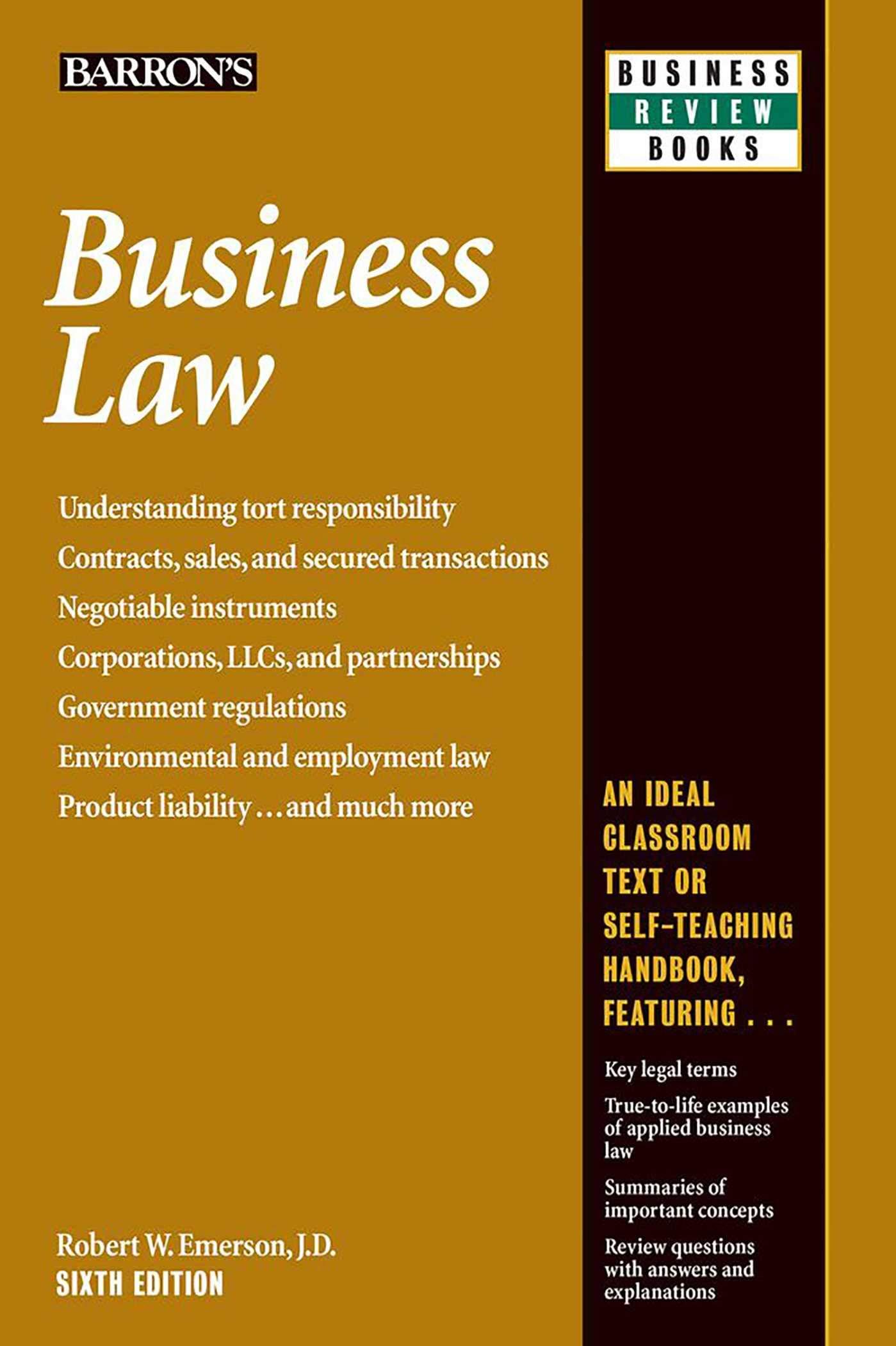 Business Law (Barron's Business Review): Robert W. Emerson J.D. ...