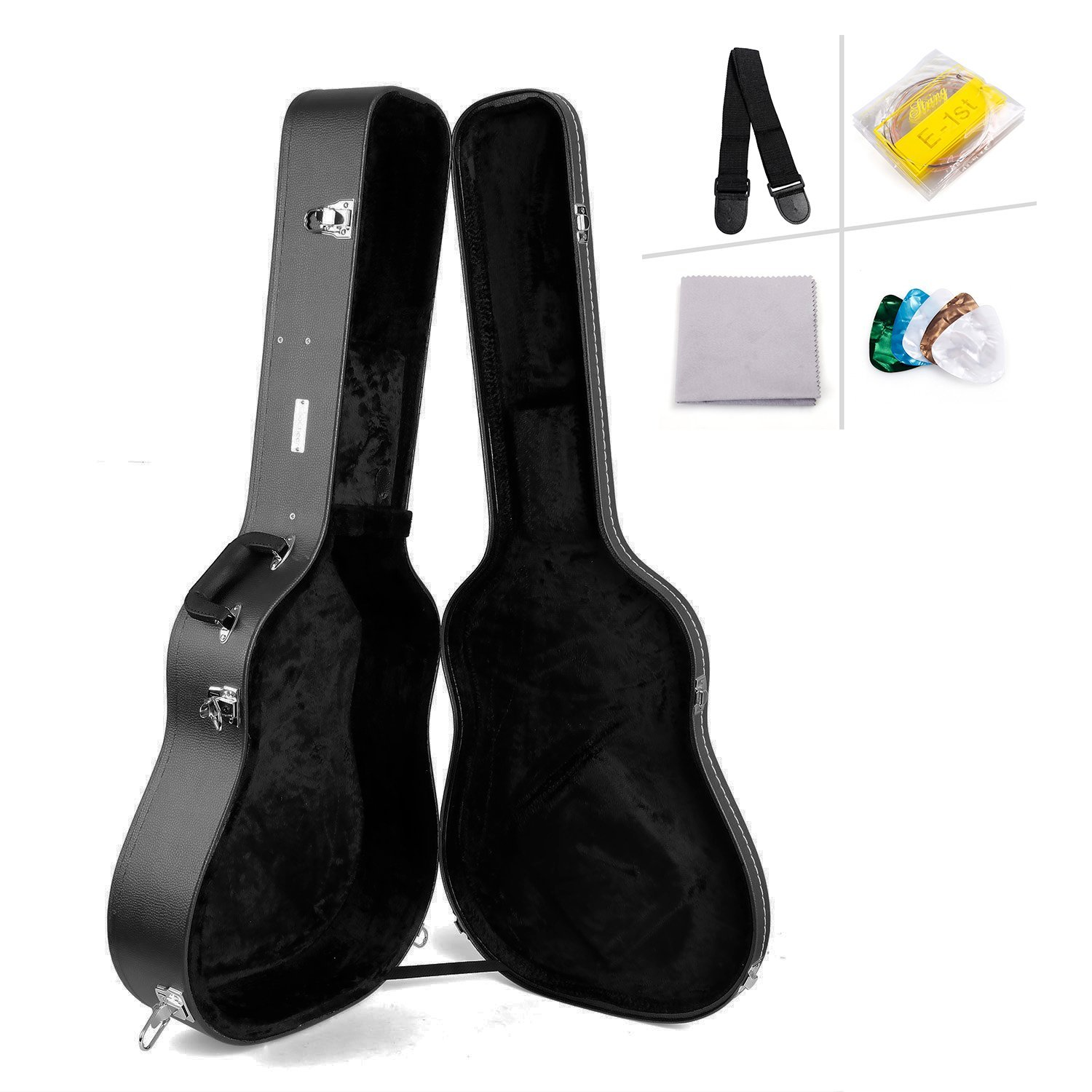 Coocheer Acoustic Guitar Case Dreadnought Hard Shell Leather Guitar Case with Picks, String, Wiper, Guitar Strap-for 41'' Acoustic Guitar,Classic Guitar (black) by COOCHEER (Image #1)