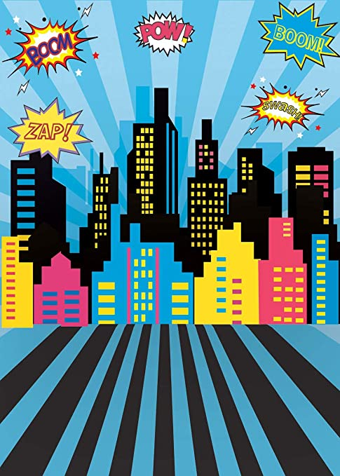 AIIKES 1.5Mx2.1M/5x7FT Bebé Cumpleaños Telón de Fondo de la Fotografía Superhéroe Partido Ciudad Edificios Póster Fondo de la Foto Photocall Estudio ...