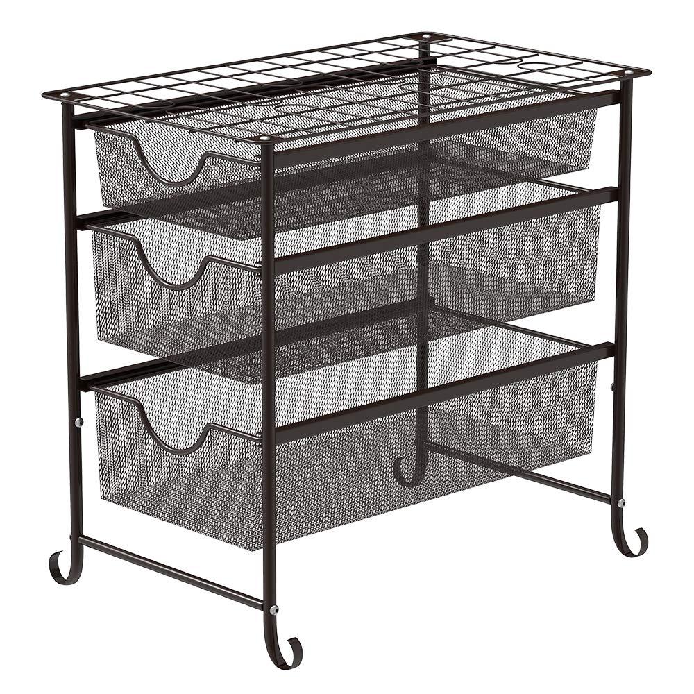 NEX 3 Tier Sliding Cabinet Basket Organizer Storage Shelf Drawer, Brown by NEX
