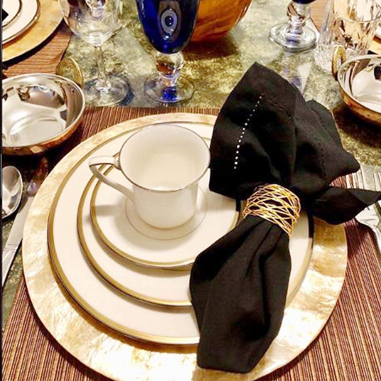 Set of 6 Gold Taoxi Handmade Black Round Mesh Napkin Rings Holder for Wedding Dinner Birthday Festival Home Hotels Restaurants Store Table Parties