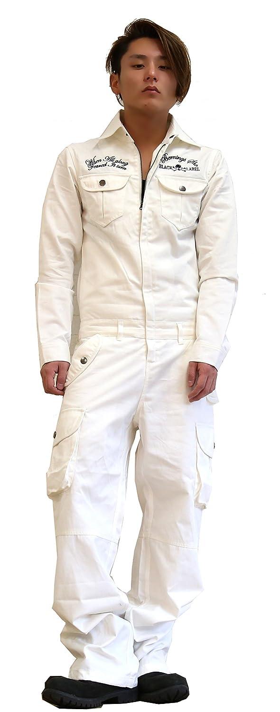 つなぎ メンズ ツナギ お兄系 BERNINGS-SHO(バーニングスショウ) クロスボーン スカル刺繍 ミリタリー 2018 おまけ付き B0779G9JM7 Lサイズ|WHITE(白)