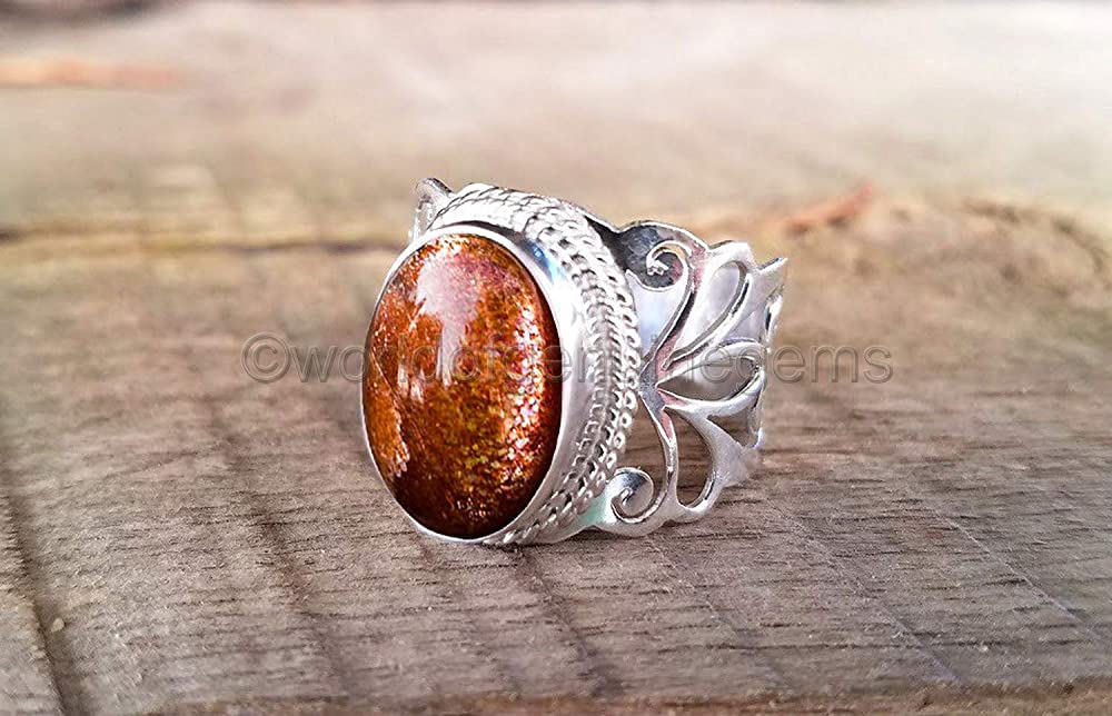925 Sterling Silver Ring Blue Sunstone Handmade Jewelry Size 7 tR41179