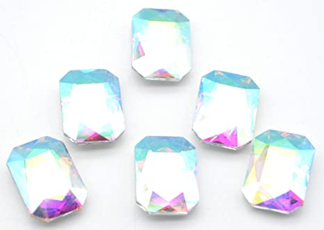 13*18mm Rectangular octagonal AB Clear Acrylic Rhinestone Crystal Flatback Gems