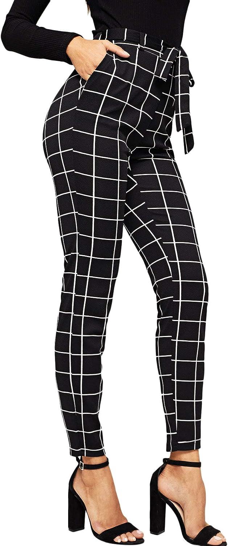 WDIRARA Women's Plaid Print Pants Self Tie Belt Soft Skinny Basic Leggings