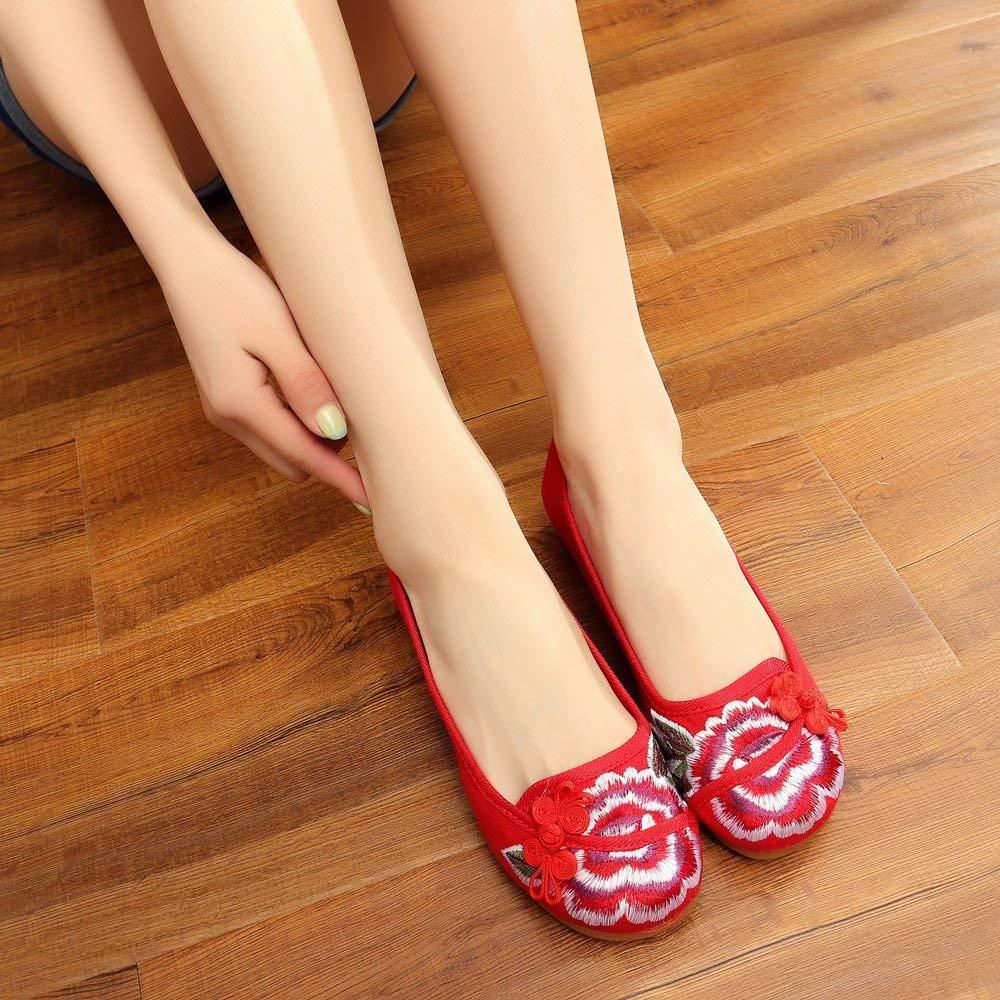 Fuxitoggo Bestickte Schuhe Sehnensohle Ethno-Stil weibliche Stoffschuhe Mode bequem lässig im Anstieg rot 35 (Farbe   - Größe   -)