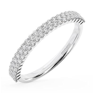 d7797f26e845 F SI 0.60Carat Double Row Round Brilliant Cut Diamonds Half Eternity  Wedding Ring in 18K White Gold (N)  Amazon.co.uk  Jewellery
