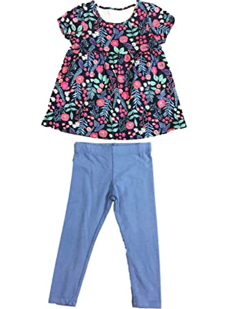 3b0b038fc1ed4 Toddler Little Girls Floral Flower & Fern Shirt Light Blue Leggings Outfit  3T