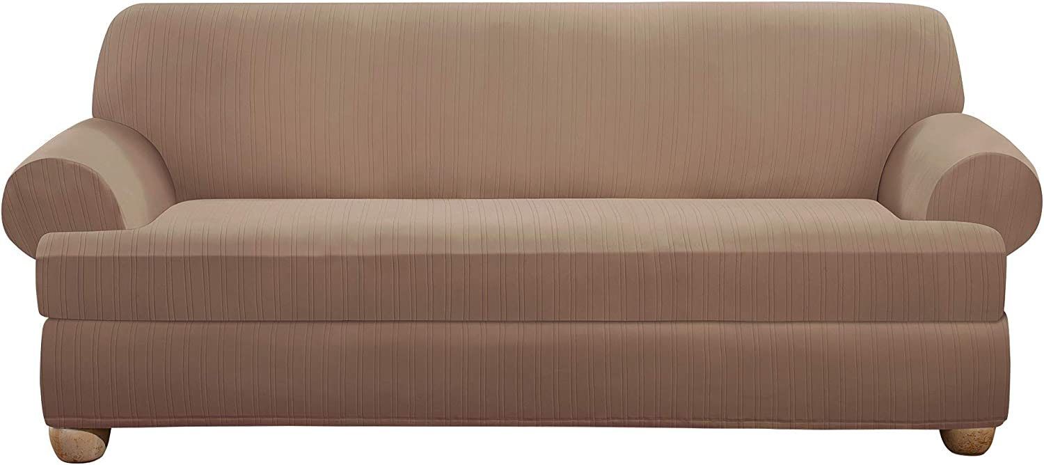 Surefit Home Décor Stretch Pinstripe T-Cushion Sofa Two Piece Slipcover, Form Fit, Polyester/Spandex, Machine Washable, Taupe Color