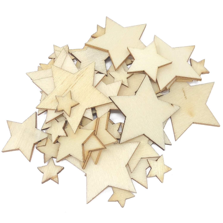 pcs MIX of MINI STARS  UNPAINTED BLANK WOODEN SHAPE EMBELLISHMENTS CRAFT 100