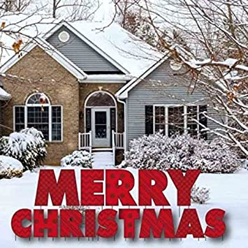 victorystore yard sign outdoor lawn decorations merry christmas letters yard card with 28 stakes - Christmas Lawn Decorations Amazon
