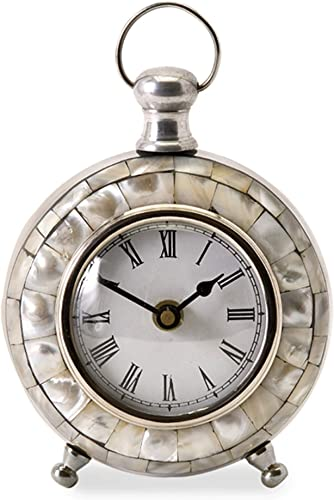 CC Home Furnishings 5.75 Analog Capiz Shell Desk Clock with Roman Numeral Face