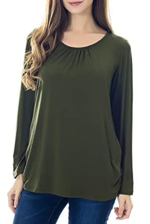 eaa62828809 Smallshow Women s Maternity Nursing Tops Long Sleeve Modal Breastfeeding  Shirts Small Army Green