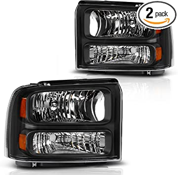 Headlights Assembly for 2005 2006 2007 Ford F250 F350 F450 F550 Super Duty// 05 Ford Excursion Headlamp Replacement,Black Housing