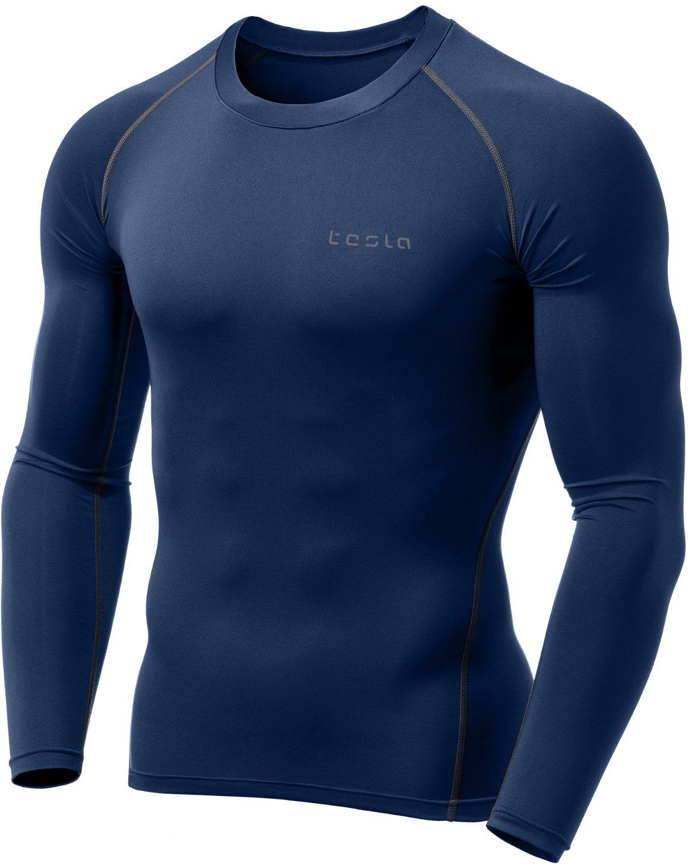 (テスラ) TESLA メンズ オールシーズン 長袖 ラウンドネック スポーツシャツ [UVカット・吸汗速乾] MUD11