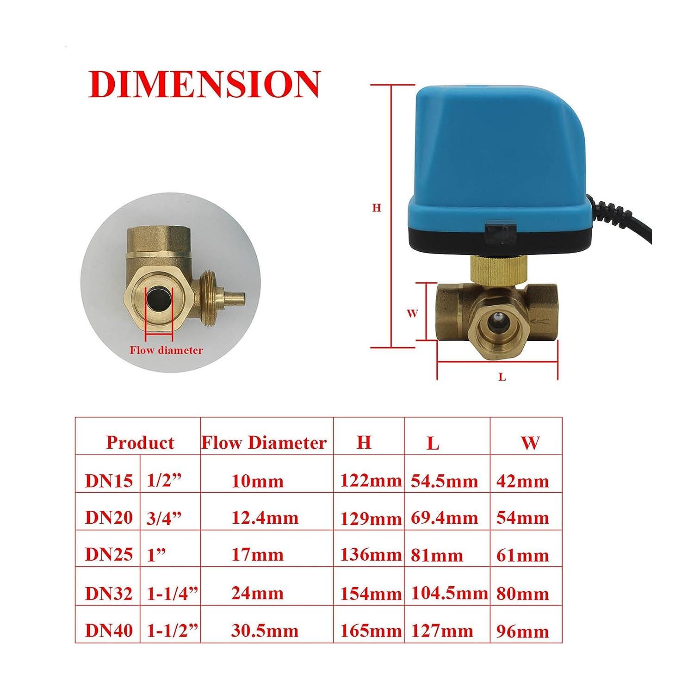 Valvula 3 vias motorizada DC 5v 12v 24V DC12V 1 tipo T valvula motorizada 3 vias 1//2 3//4 1 1-1//4 1-1//2