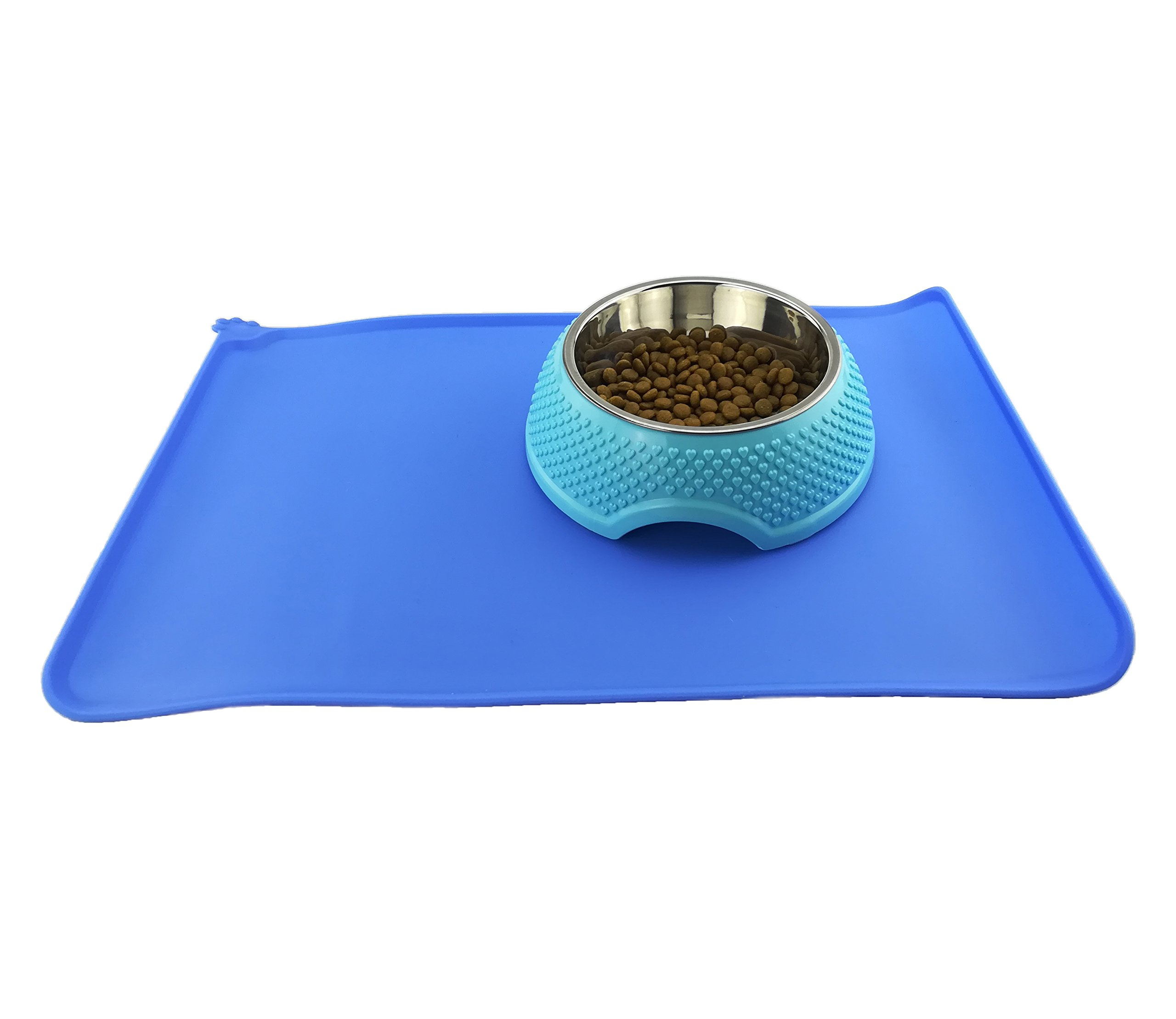 Newtensina Dog Bowl and Mat Waterproof Silicone Cat Food Bowls Puppy Mats for Bowls - Blue Bowl Mat & Blue Stainless Steel Bowl by Newtensina