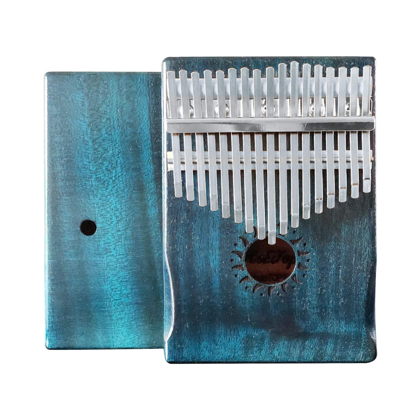 KoEiTop Kalimba 17 Keys Thumb Piano -Unique Blue Color and Hand-rest Curve Design Retro style tuning hammer and study instruction. Artwork, thick solid wood, dried wood for more than 2 years (Spruce