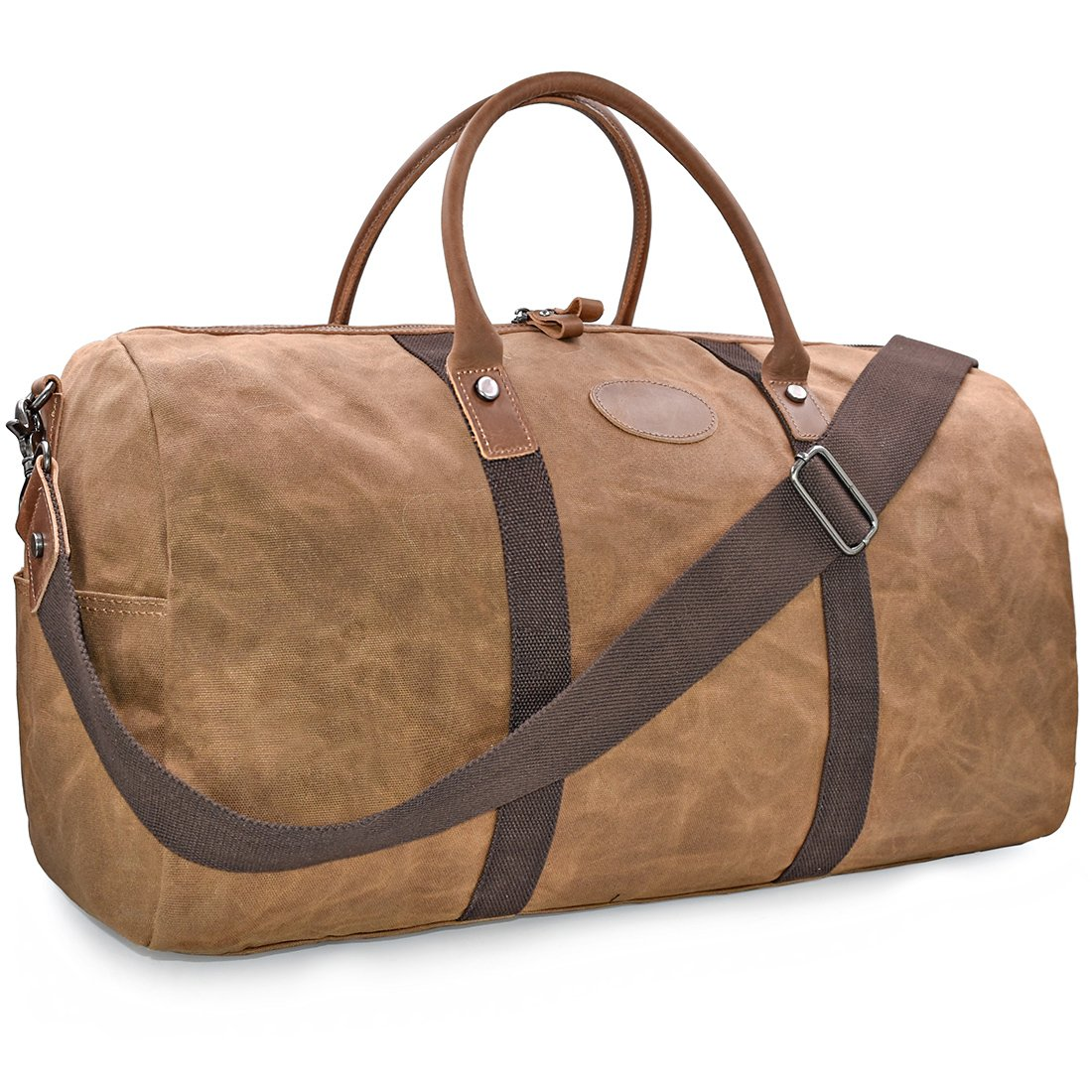 Travel Duffel Bag Waterproof Canvas Overnight Bag Leather Weekend Oversized Carryon Handbag Brown by NEWHEY