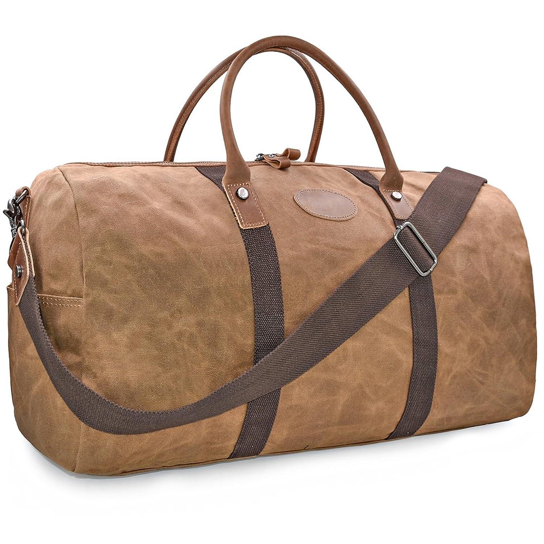 95bc6e0f8d Travel Duffel Bag Waterproof Canvas Overnight Bag Leather Weekend Oversized  Carryon Handbag Brown