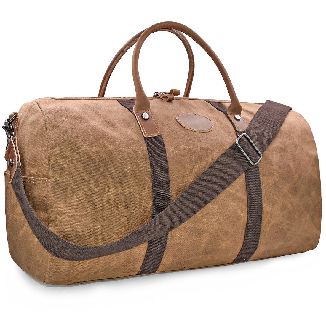 Travel Duffel Bag Waterproof Canvas Overnight Bag Leather Weekend Oversized Carryon Handbag Brown