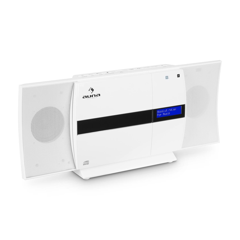 auna V-20 • Equipo estéreo • Minicadena • Reproductor de CD • Dab+ • FM • Bluetooth • Conexión NFC • USB • MP3 • Mando Distancia • Pantalla LED con Reloj • AUX • De pie o monta