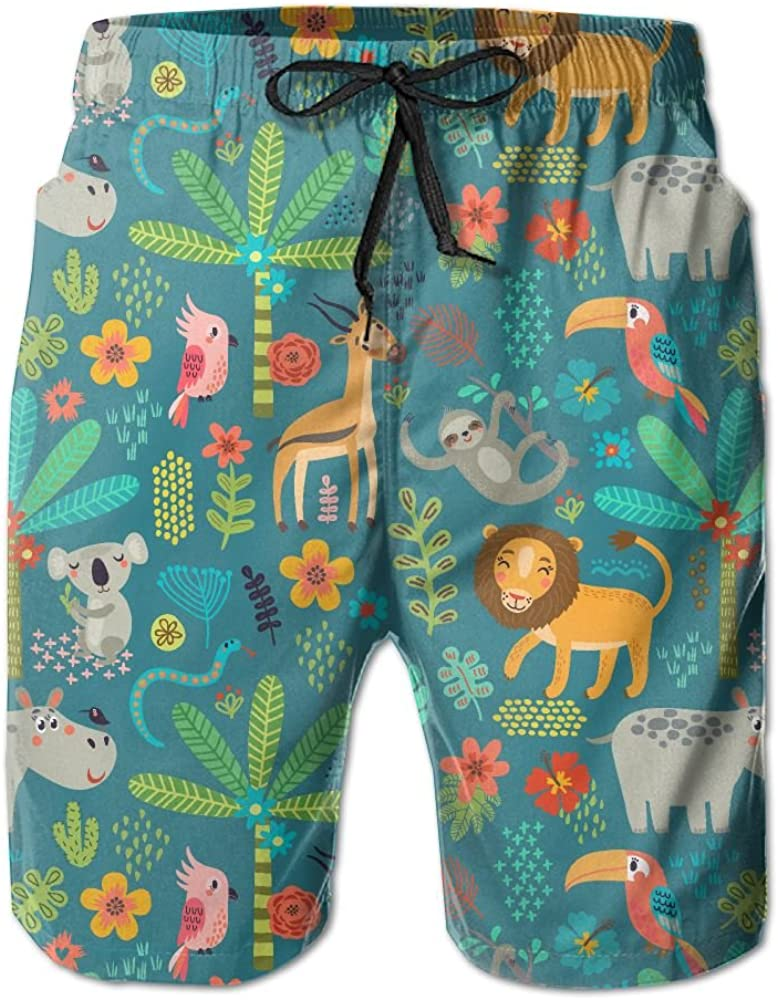 LUASD Mens Seamless Pattern Jungle Animals Quick Drying Moisture Perspiration Surf Pants Swim Trunks