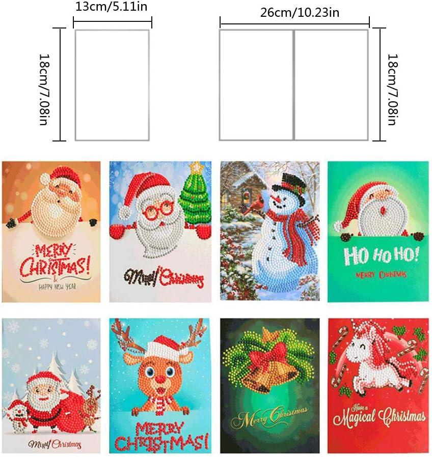 A/ño Nuevo Greeting Cards Pap/á Noel mu/ñeco de nieve cumplea/ños 8 Tarjetas de Navidad 5D de pintura de diamantes con forma especial para Navidad festival