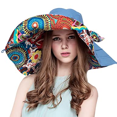 Yimidear Women Summer Beach Hat Ladies Bohemia Sun Hat Large Brim anti-UV  hat Foldable 4341ed891bbe