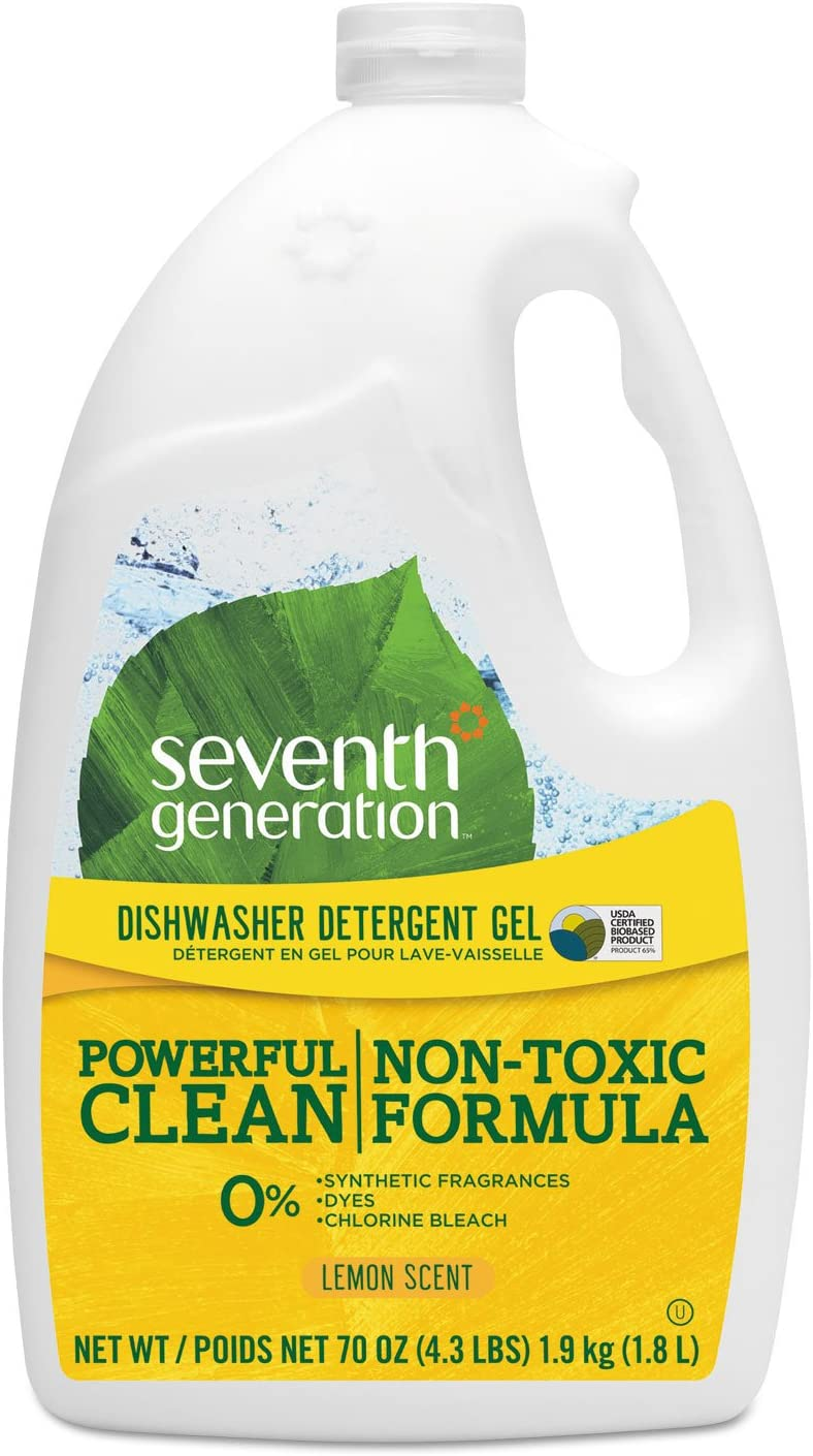 SEVENTH GENERATION Lemon Auto Dishwasher Gel, 70 OZ