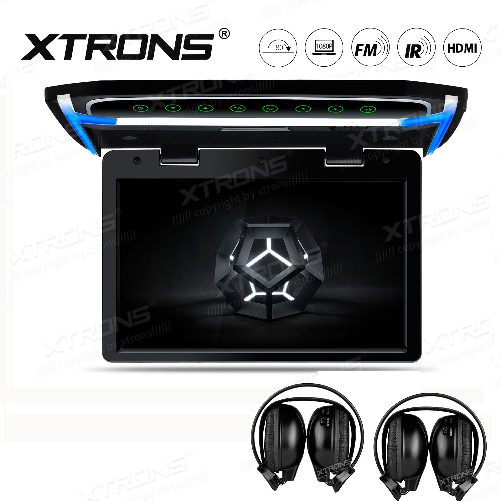 XTRONS 10.2 Inch Digital TFT Screen 1080P Video Car Overhead Player Roof Mounted Monitor HDMI Port IR Headphones