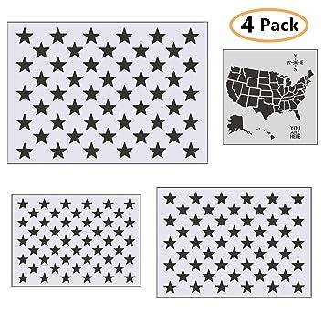 Amazon Com Onest 4 Pieces Star Stencil 50 Stars American Flag