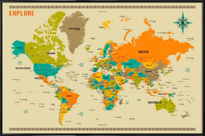 """JUNIQE® Bild mit Rahmen 60x90cm Weltkarten - Design """"New World Map""""  (Format: Quer) - Wandbilder, Gerahmte Bilder & Gerahmte Poster von  unabhängigen ..."""