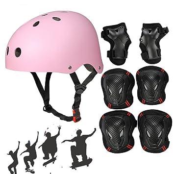 SymbolLife Monopatín Casco con rodilleras Equipo de Protección conjines de codo muñequeras para Niños Bmx/