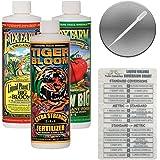 Fox Farm Liquid Nutrient Trio Soil Formula: Big Bloom, Grow Big, Tiger Bloom (Pack of 3-16 oz. Bottles) 1 Pint Each + Twin Ca