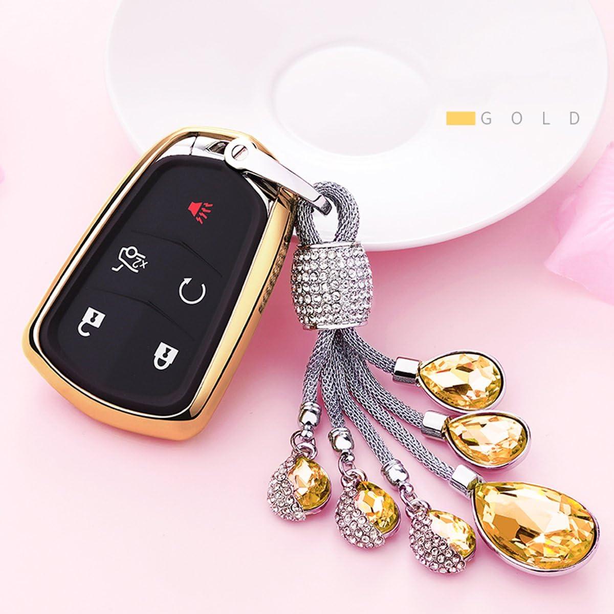 MODIPIM Keyless Entry Remote Cover Soft TPU Key Fob Case with Diamond Tassel Keychain for Cadillac XT5 ATSL XTS CT6 SRX 3//4//5//6-Buttons Smart Key Color Blue