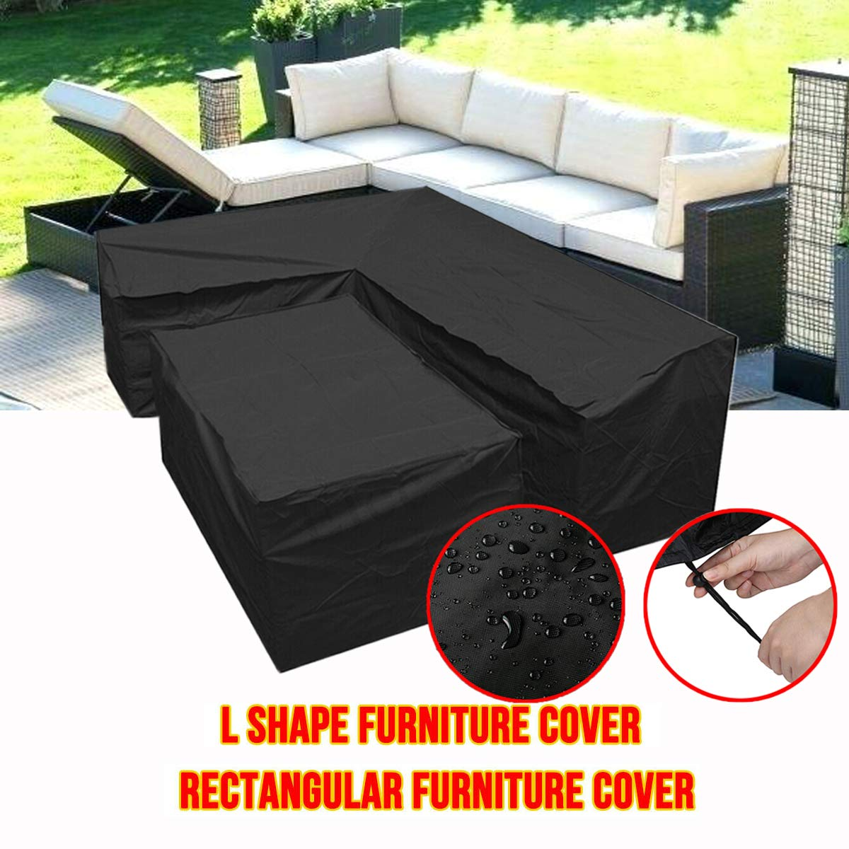 Silvotek L Shaped Outdoor Sofa Cover-l Shaped Patio Couch Covers with Durable Hem Cord,210D l Shaped Outdoor Couch coverl Shaped Outdoor sectional Sofa Cover by Silvotek