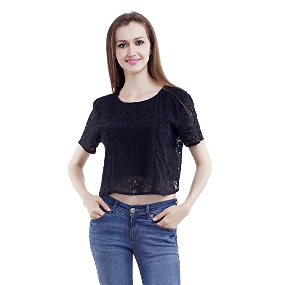 MansiCollections Casual Short Sleeve Solid Black Top for Women Tops
