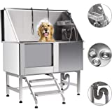 CO-Z 50 Inches Professional Stainless Steel Pet Dog Grooming Bath Tub Station Wash Shower Sink with Faucet Walk-in Ramp…
