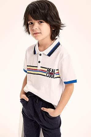 DeFacto Contrast Trim Cotton Printed Polo Shirt for Boys