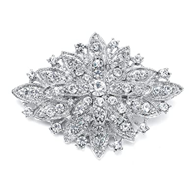3e0c3b68577 Amazon.com: Mariell Vintage Wedding Crystal Bridal Brooch Pin - Stunning Art  Deco Fashion - Platinum Plated: Jewelry