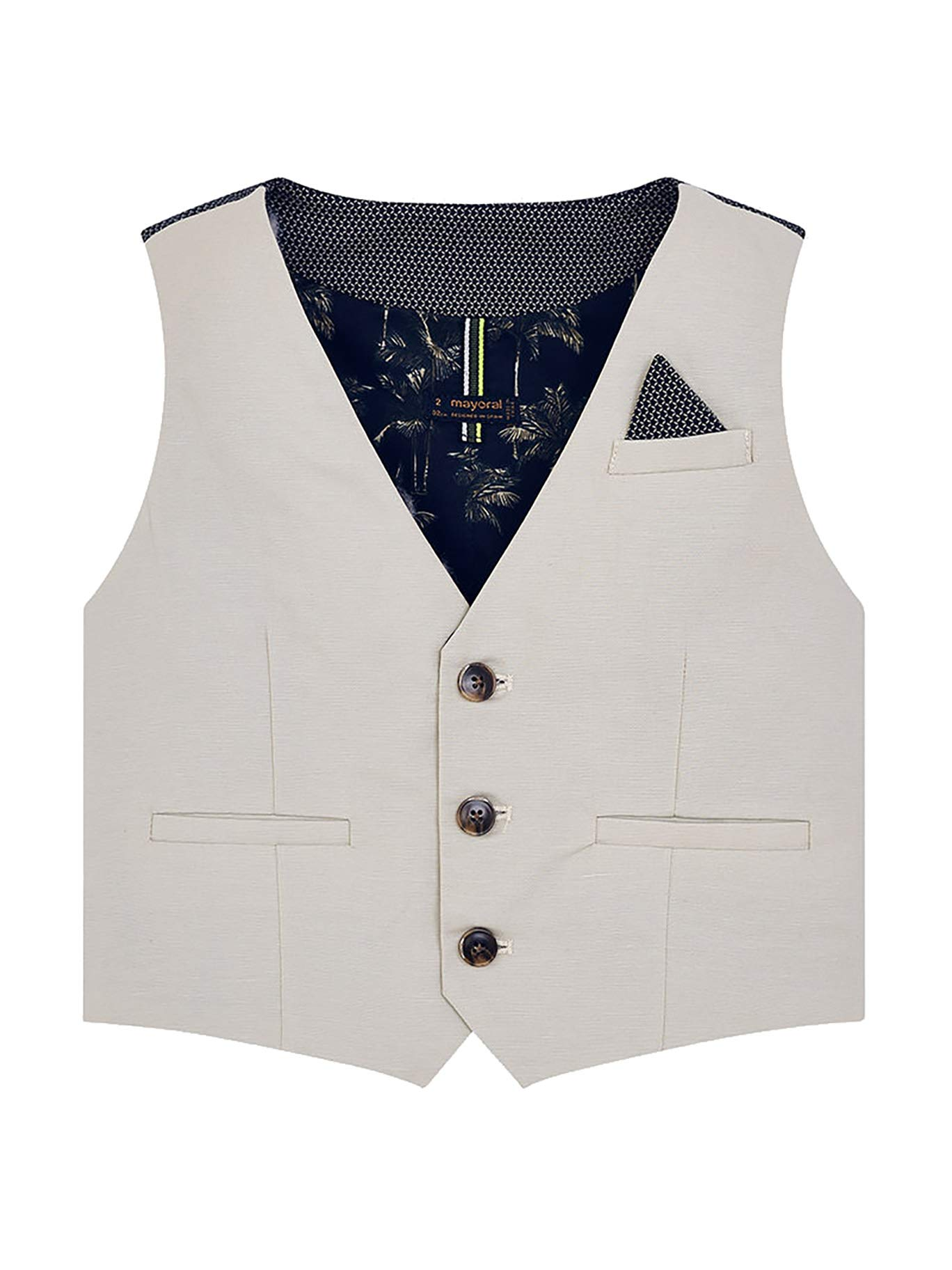 Mayoral 29-03310-090 - Tailored Linen Vest for Boys 9 Years Stone